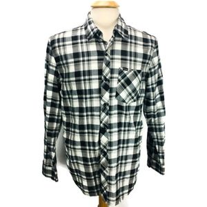 Hurley Axis Woven Shirt Black White Plaid Size L